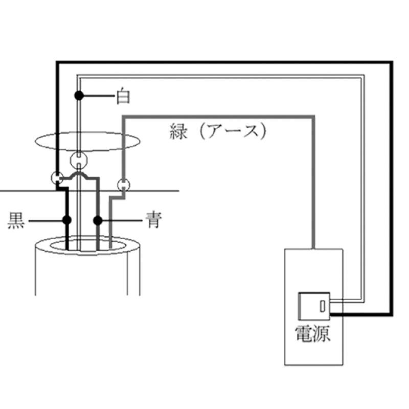 輸入シーリングファン接続配線図